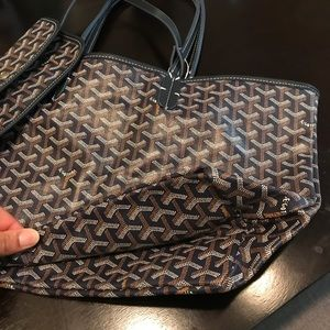 Goyard ST Louis Pre Owned PM Navy Canvas Tote